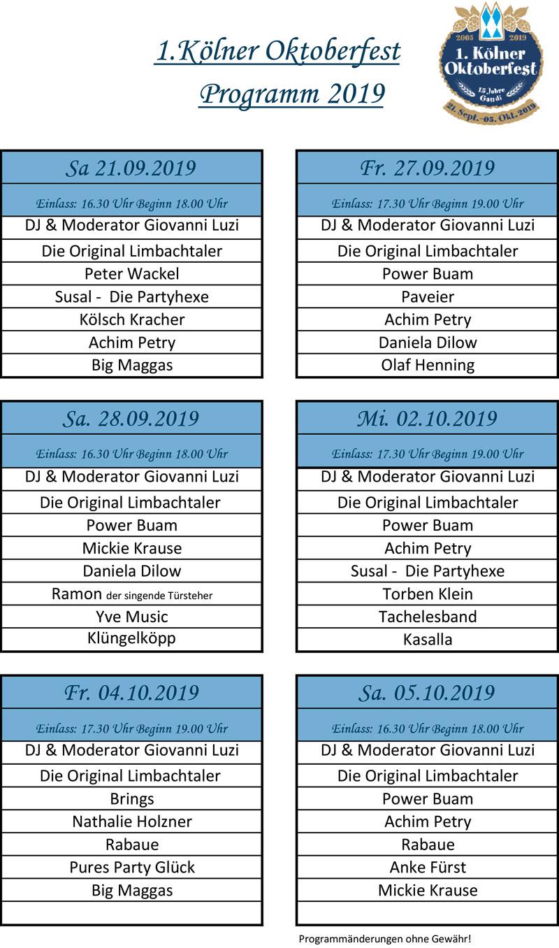 Programm 2017 Kölner Oktoberfest 2019